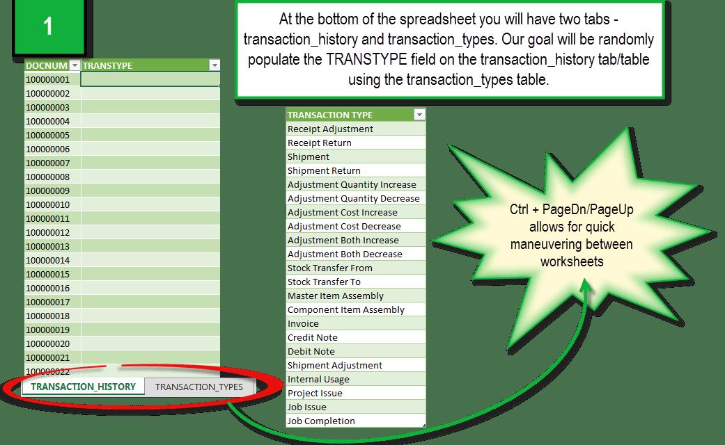 Excel Formulas: Build Random Item Transaction History Data Using the Index Randbetween CountA Formula