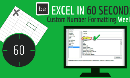 Three 60 Second Excel Custom Number Formatting Videos that will Help you get Noticed in the Office