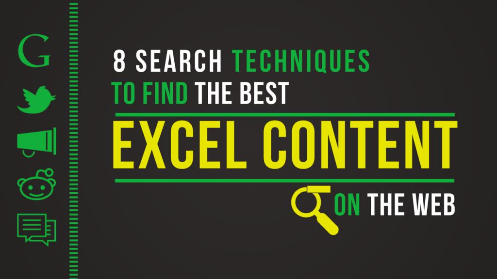 8 Search techniques Excel Content