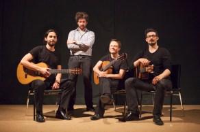 Victoria Guitar Trio with composer Benton Roark in Vancouver, 2014. Photo by Mark Mushet.