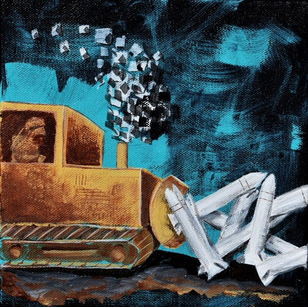 develop peace, acrylic painting by bradley flora..which looks like a a bulldozer pushing missles