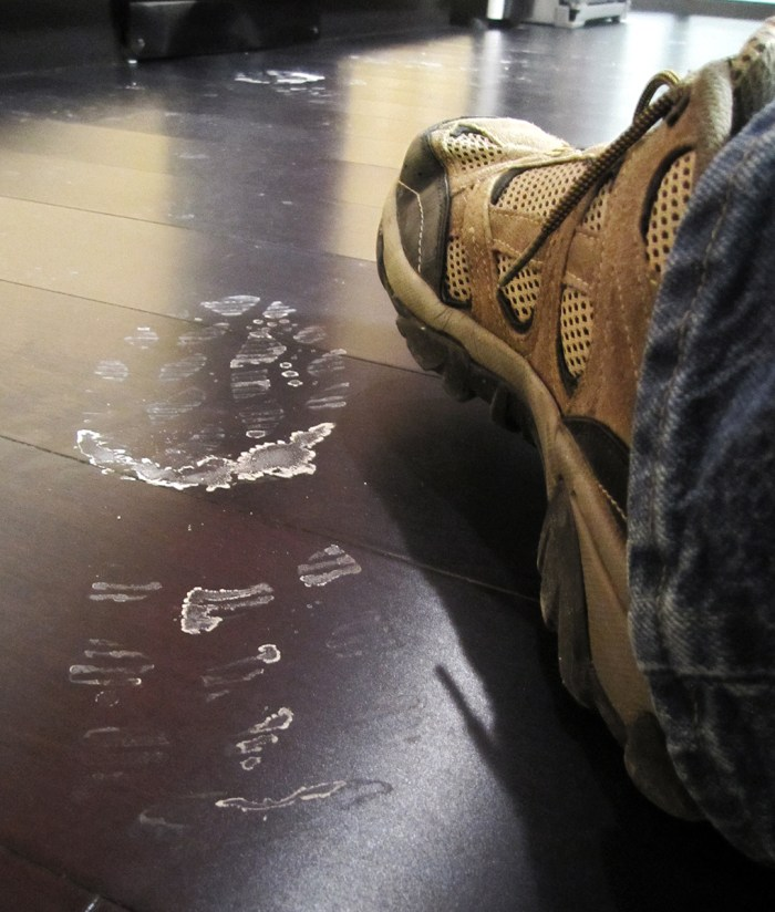January 7. Breakroom floor. And my shoe. The footprint is not mine.
