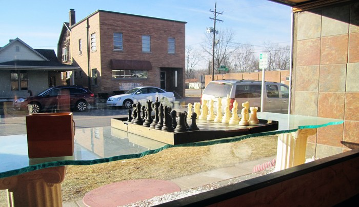 March 5th. Chess set in window.