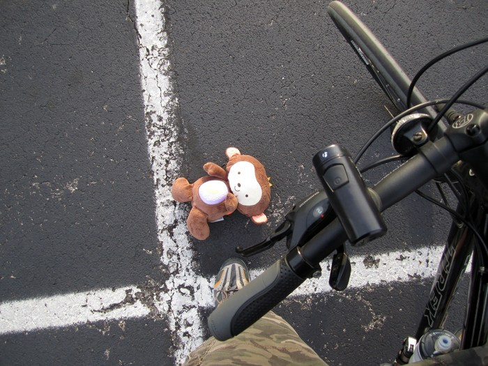 Stuffed monkey in hotel parking lot