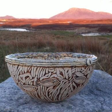 natural glaze pottery bowl ocean depths island energy
