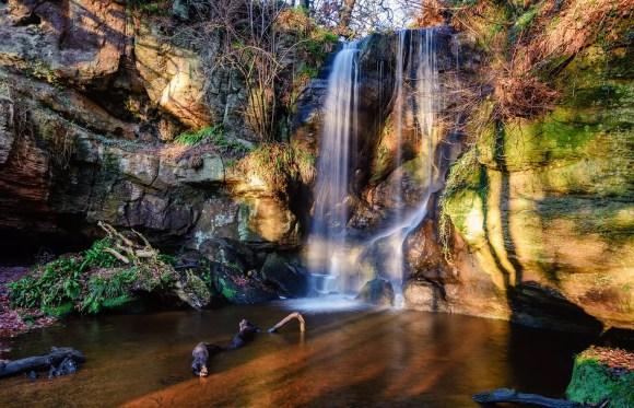 Routin Lynn waterfall, Doddington, Northumberland, Dave Head Shutterstock