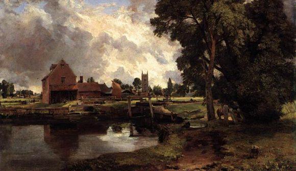 Dedham Lock and Mill by John Constable Suffolk UK England walking route © JarektUploadBot/Wikimedia Commons