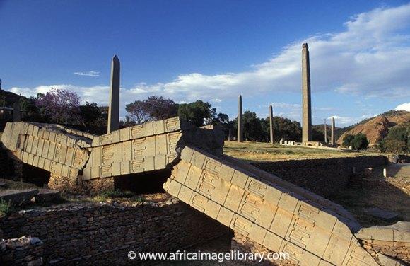 Axum stelae field Ethiopia by Ariadne Van Zandbergen