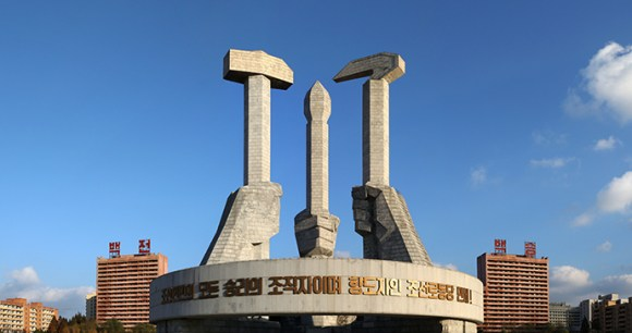 Workers Party Monument Pyongyang North Korea by nndrln, Shutterstock