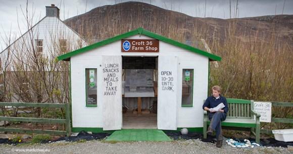 Mark outside Croft Farm Shop, Outer Hebrides © Mark Rowe
