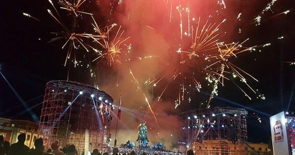 Skanderbeg Square, Tirana on New Year's Eve by Marinelaaa, Wikimedia Commons