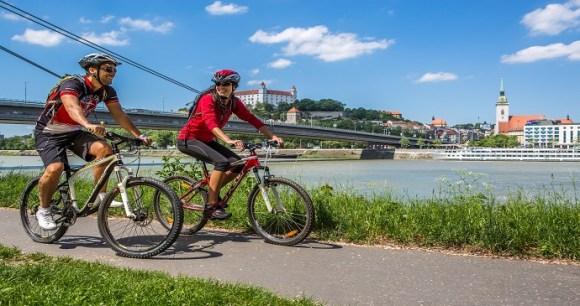 Cycling Danube Bratislava Slovakia by DUOMEDIA