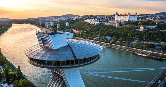 UFO Tower Bratislava Most SNP Slovakia by DUOMEDIA