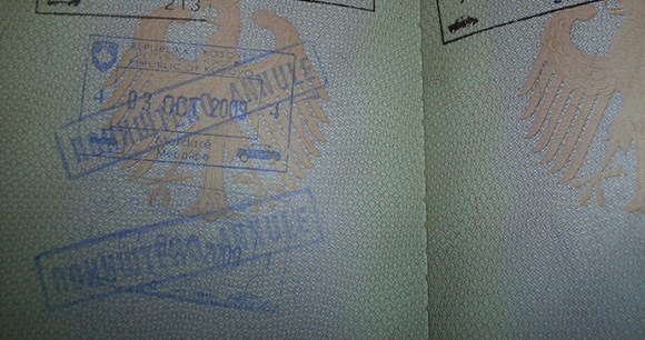 Annulled Kosovo passport stamps, Serbia by Count zero ice, Wikimedia Commons