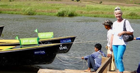 Jan Leeming with Just You's river craft © Jan Leeming