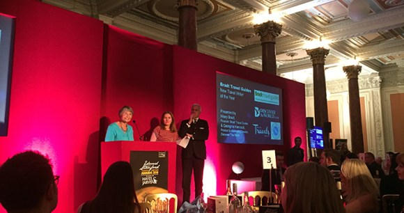 Hilary Bradt and Georgina Hancock present the Bradt New Travel Writer of the Year award at the Edward Stanford Travel Writing Awards, London Olympia