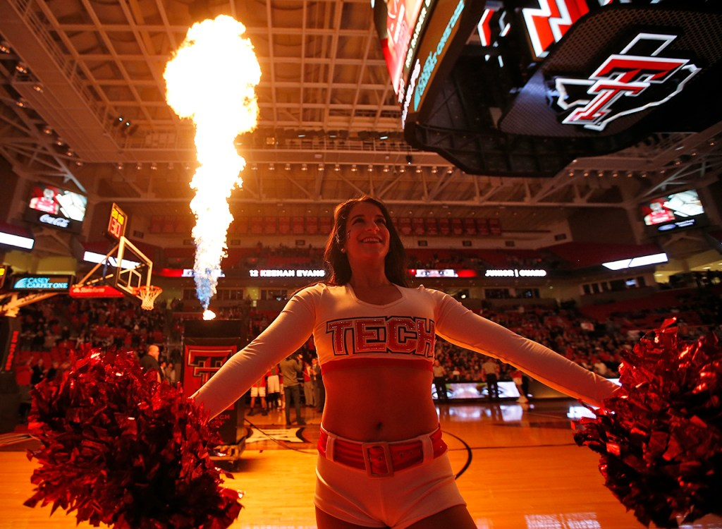 A Texas Tech pom squad member performs as the starting lineups are announced before the Red Raiders' game against Baylor, Monday, Feb. 13, 2017, at United Supermarkets Arena in Lubbock, Texas. (Brad Tollefson/A-J Media)
