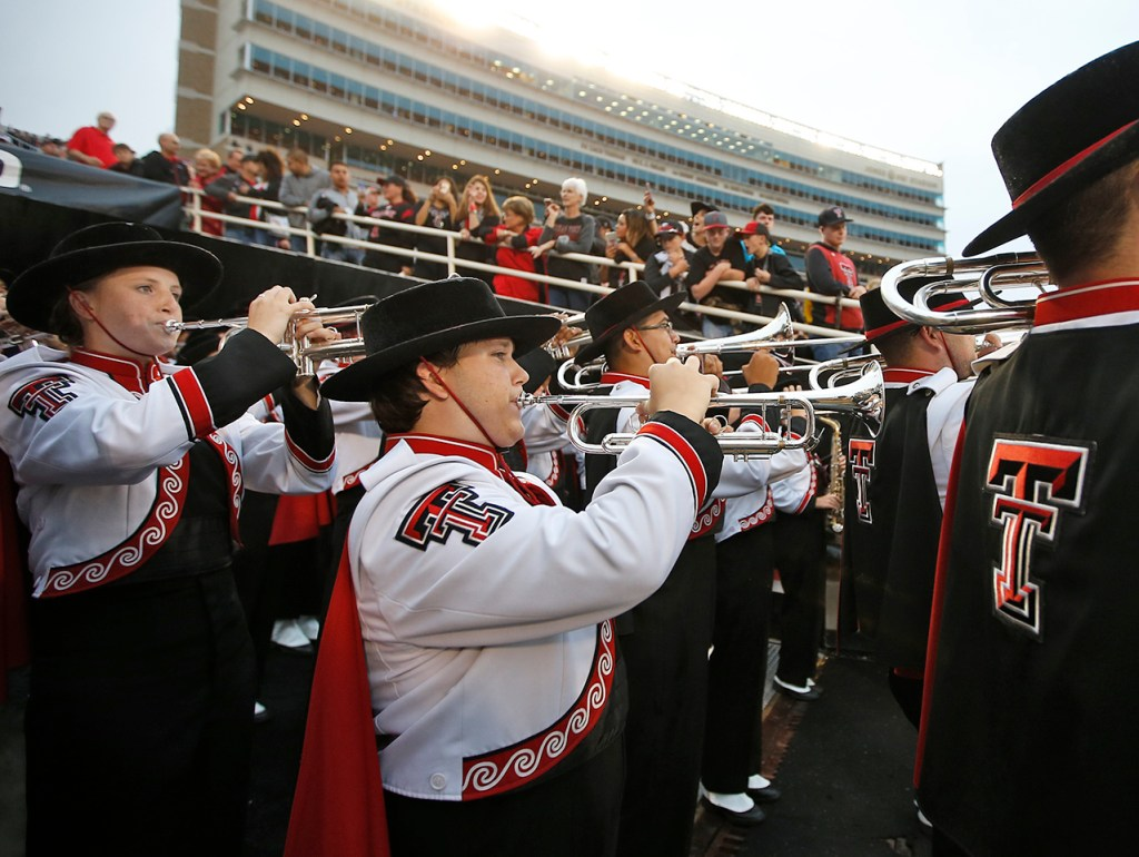 Goin Band members prepare to enter the field before the NCAA college football game against Oklahoma State, Saturday, Sept. 30, 2017, in Lubbock, Texas. (Brad Tollefson/A-J Media)