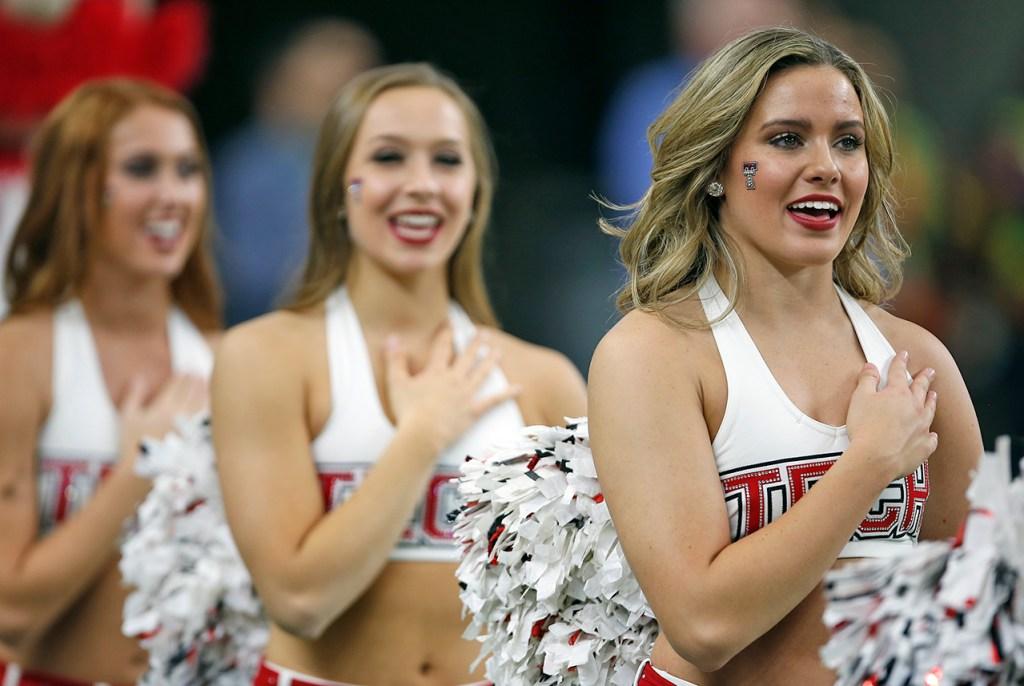 Texas Tech pom squad sings National Anthem