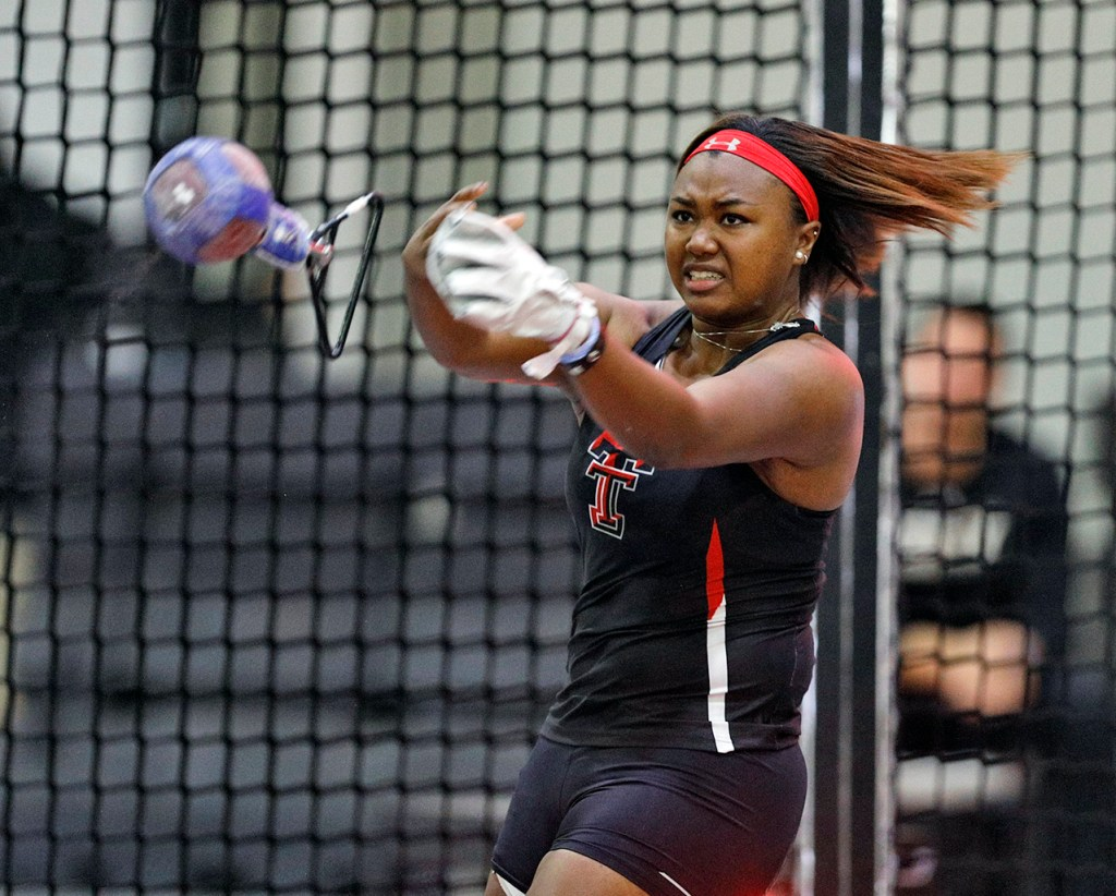 Texas Tech's Seasons Usual releases her throw during the weight throw in the Red Raider Invitational, Friday, Jan. 19, 2018, at the Sports Performance Center in Lubbock, Texas. Usual finished fourth in the event with a 54 foot and 6 inch long throw. (Brad Tollefson/A-J Media)