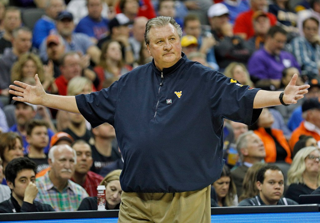 West Virginia coach Bob Huggins reacts to a call during a Big 12 semifinal game against Texas Tech, Friday, March 9, 2018, at the Sprint Center in Kansas City, Mo. [Brad Tollefson/A-J Media]