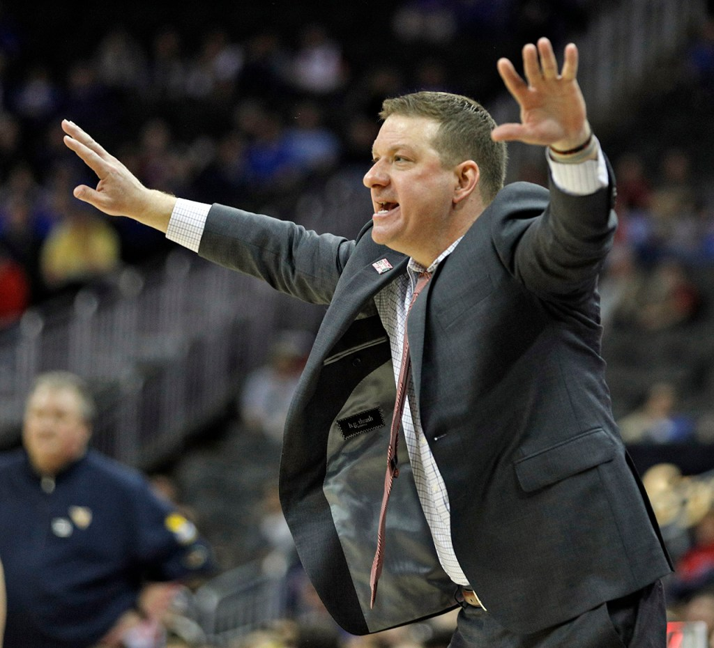 Texas Tech coach Chris Beard reacts to a call during a Big 12 semifinal game against West Virginia, Friday, March 9, 2018, at the Sprint Center in Kansas City, Mo. [Brad Tollefson/A-J Media]