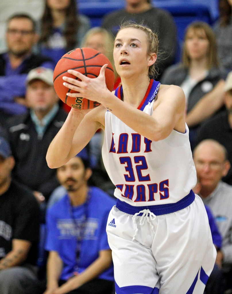 Lubbock Christian's Delaney Gaddis (32) shoots the ball during the South Central regional championship against West Texas A&M, Monday, March 12, 2018, at Rip Griffin Center in Lubbock, Texas. [Brad Tollefson/A-J Media]