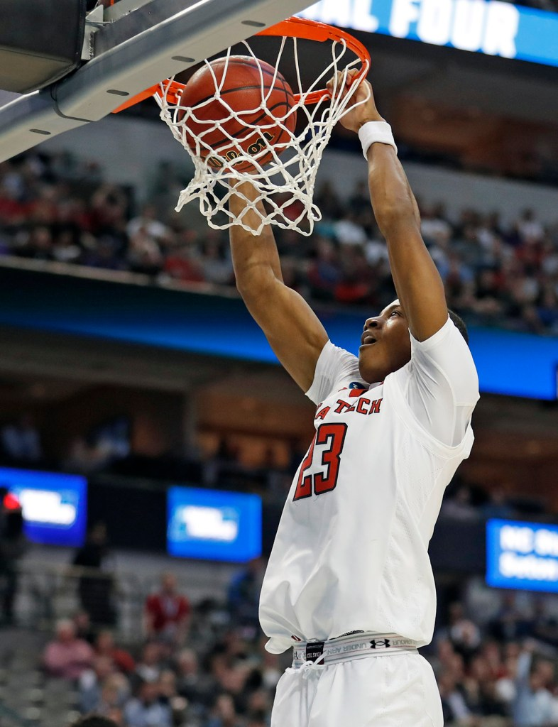 Texas Tech's Jarrett Culver (23) dunks the ball during an NCAA college basketball tournament game Thursday, March 15, 2018, at American Airlines Center in Dallas, Texas. [Brad Tollefson/A-J Media]