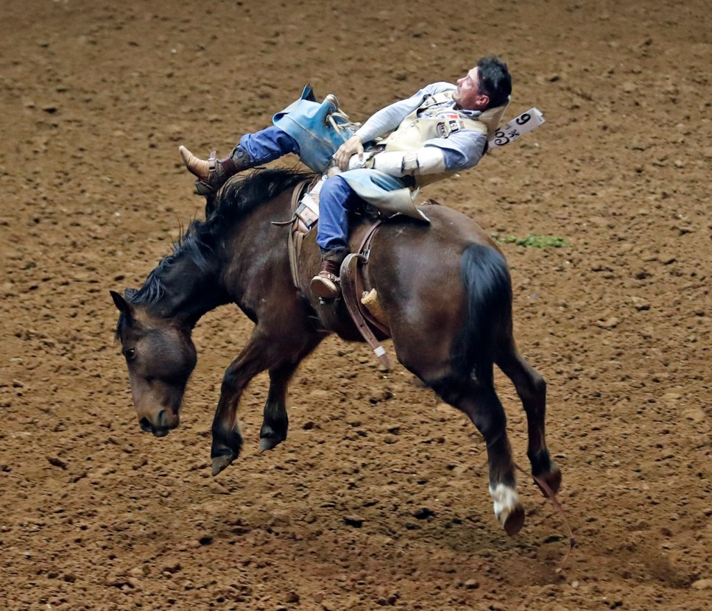 Matt Crumpler, from Sequin, competes in the bareback competition during the ABC Pro Rodeo, Saturday, March 31, 2018, at Municipal Coliseum in Lubbock, Texas. [Brad Tollefson/A-J Media]