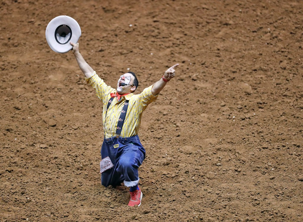 Rodeo clown Andy Burelle points to the sky during the ABC Pro Rodeo, Saturday, March 31, 2018, at Lubbock Municipal Coliseum in Lubbock, Texas. [Brad Tollefson/A-J Media]