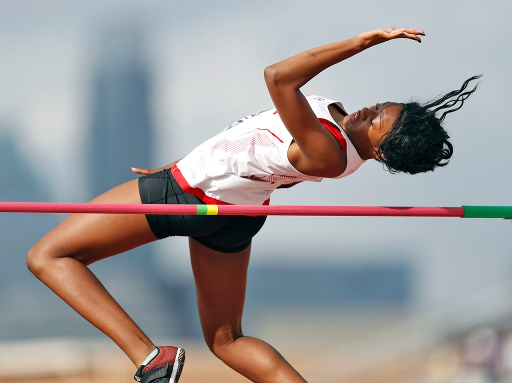Coronado's NeNe Phenix clears the bar in the high jump during the UIL State Track and Field meet, Friday, May 11, 2018, at Mike A. Myers Stadium in Austin, Texas. Phenix finished first in the competition with a jump of 5 feet 8 inches. [Brad Tollefson/A-J Media]