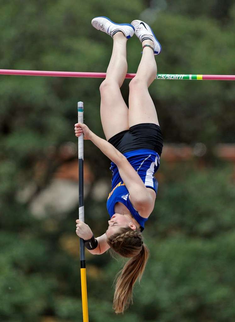 Frenship's Sarah Tackitt tries to clear the bar during the UIL State Track and Field meet, Saturday, May 12, 2018, at Mike A. Myers Stadium in Austin, Texas. [Brad Tollefson/A-J Media]