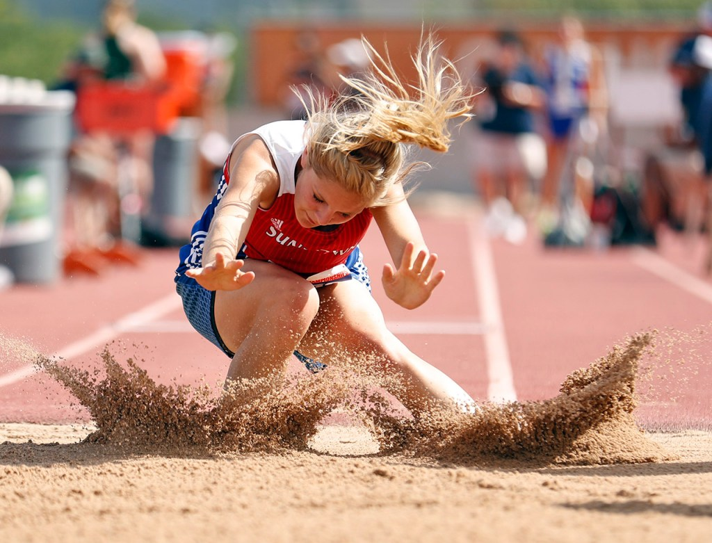 Sundown's Haven Wisdom lands in the sand pit during the UIL State Track and Field meet, Saturday, May 12, 2018, at Mike A. Myers Stadium in Austin, Texas. [Brad Tollefson/A-J Media]
