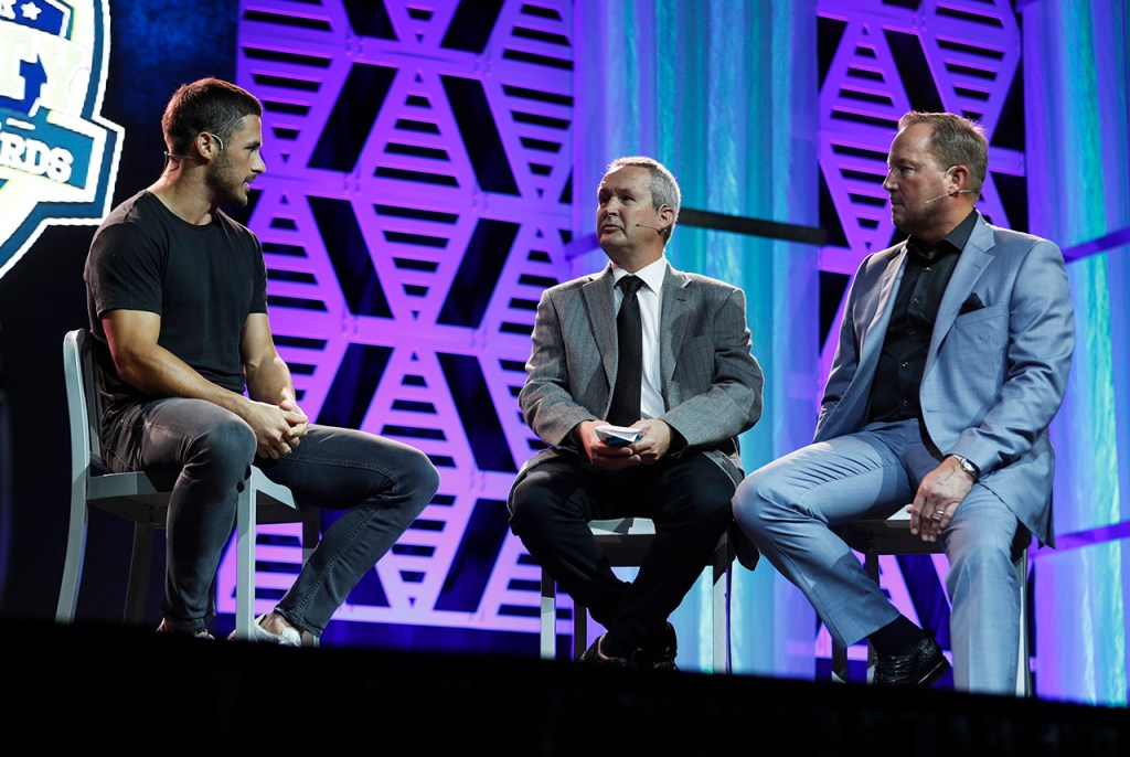 Danny Amendola talks on stage with Don Williams and Bart Reagor during the Lone Star Varsity High School Sports Awards Banquet, Wednesday, May 30, 2018, in Lubbock, Texas. [Brad Tollefson/A-J Media]