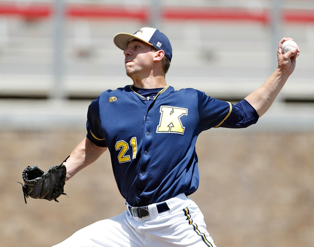 Kent State's Jared Skolnicki (21) pitches the ball during an NCAA college baseball tournament regional game against New Mexico State, Saturday, June 2, 2018, in Lubbock, Texas. [Brad Tollefson/A-J Media]