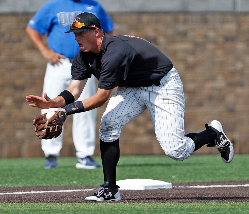 Texas Tech's Josh Jung (16) catches a ground ball during an NCAA college baseball tournament super regional game against Duke, Saturday, June 9, 2018, in Lubbock, Texas. [Brad Tollefson/A-J Media]