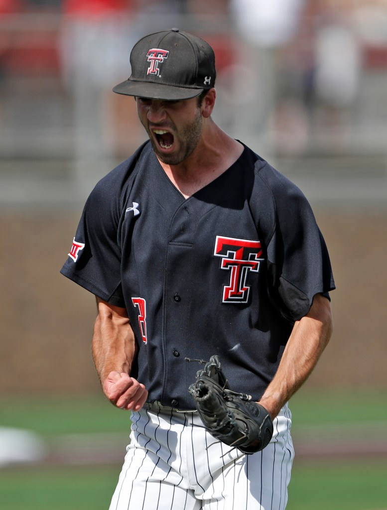 Texas Tech's Ty Harpenau (28) celebrates after getting the final out during an NCAA college baseball tournament super regional game against Duke, Saturday, June 9, 2018, in Lubbock, Texas. [Brad Tollefson/A-J Media]