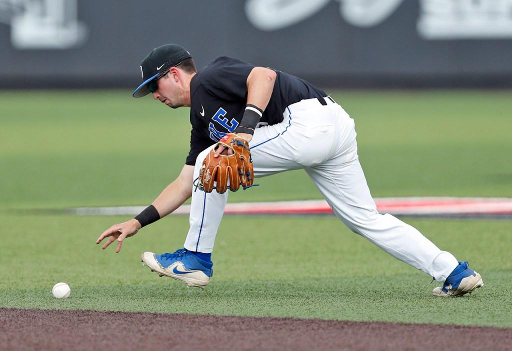 Duke's Max Miller (5) grabs a ground ball during an NCAA college baseball tournament super regional game against Texas Tech, Sunday, June 10, 2018, in Lubbock, Texas. [Brad Tollefson/A-J Media]