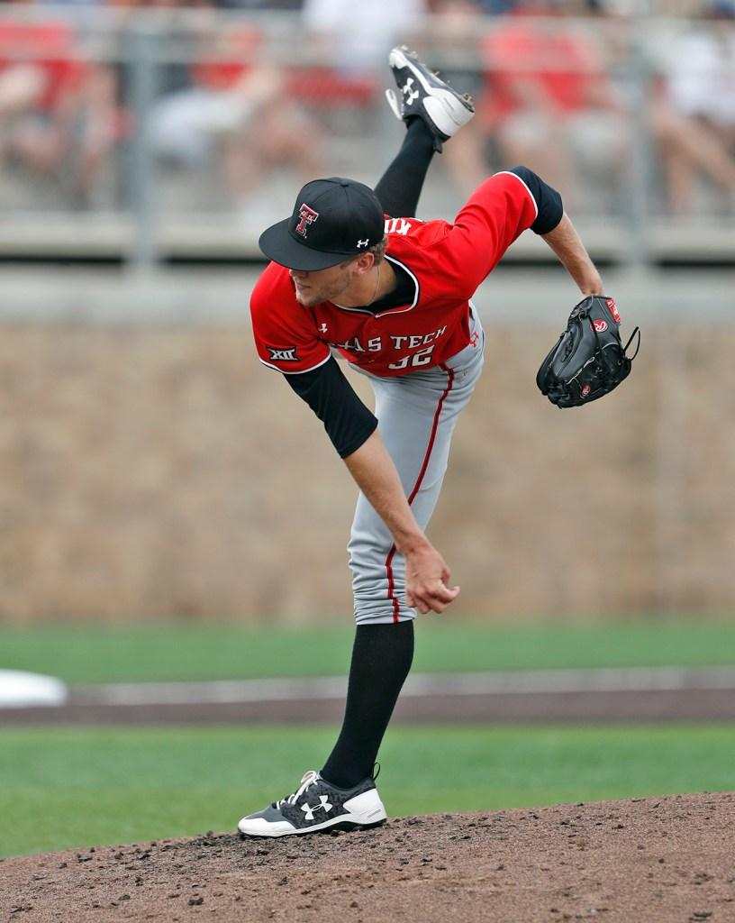 Texas Tech's Caleb Kilian (32) pitches the ball during an NCAA college baseball tournament super regional game against Duke, Sunday, June 10, 2018, in Lubbock, Texas. [Brad Tollefson/A-J Media]