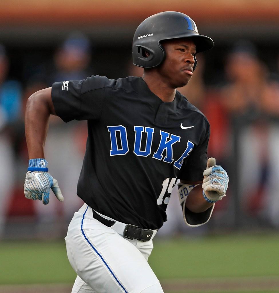 Duke's Kennie Taylor (15) runs to first base during an NCAA college baseball tournament super regional game against Texas Tech, Sunday, June 10, 2018, in Lubbock, Texas. [Brad Tollefson/A-J Media]