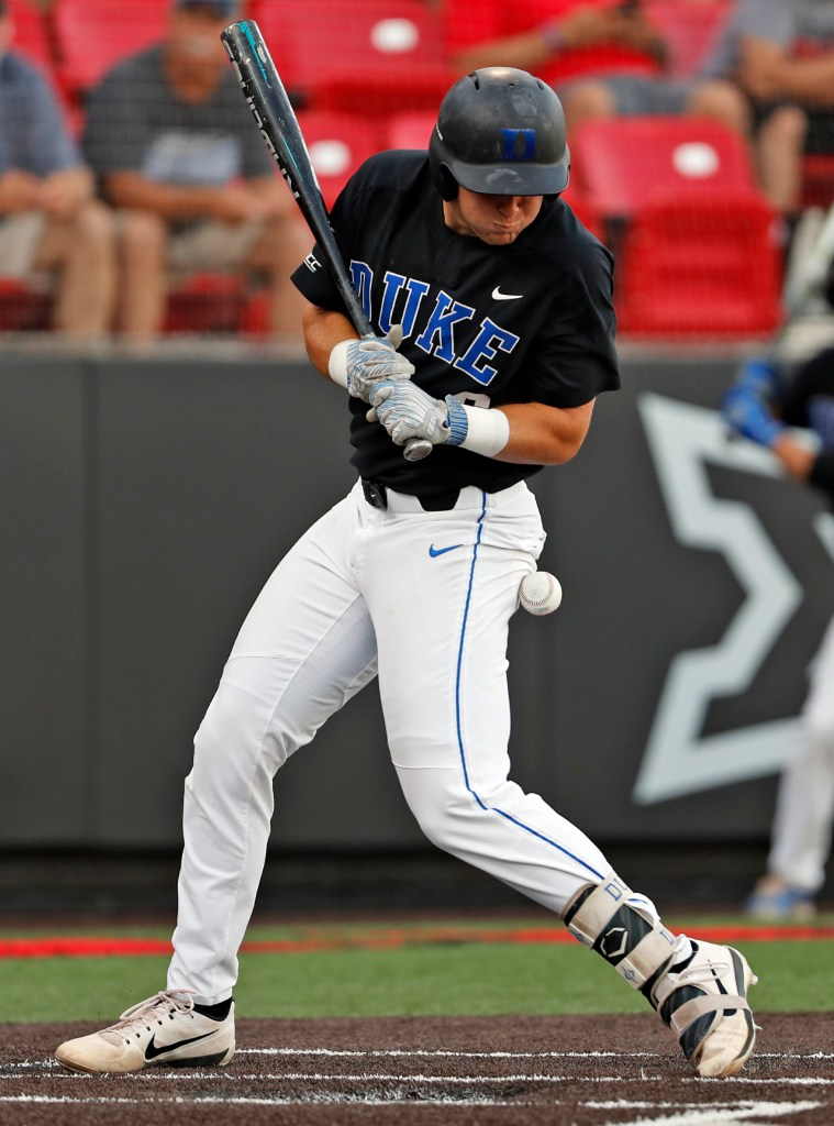 Duke's Jack Labosky (6) is hit by the pitch during an NCAA college baseball tournament super regional game against Texas Tech, Sunday, June 10, 2018, in Lubbock, Texas. [Brad Tollefson/A-J Media]