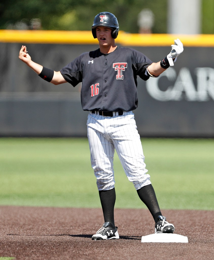 Texas Tech's Josh Jung (16) celebrates after hitting a double during an NCAA college baseball tournament super regional game against Duke, Monday, June 11, 2018, in Lubbock, Texas. [Brad Tollefson/A-J Media]