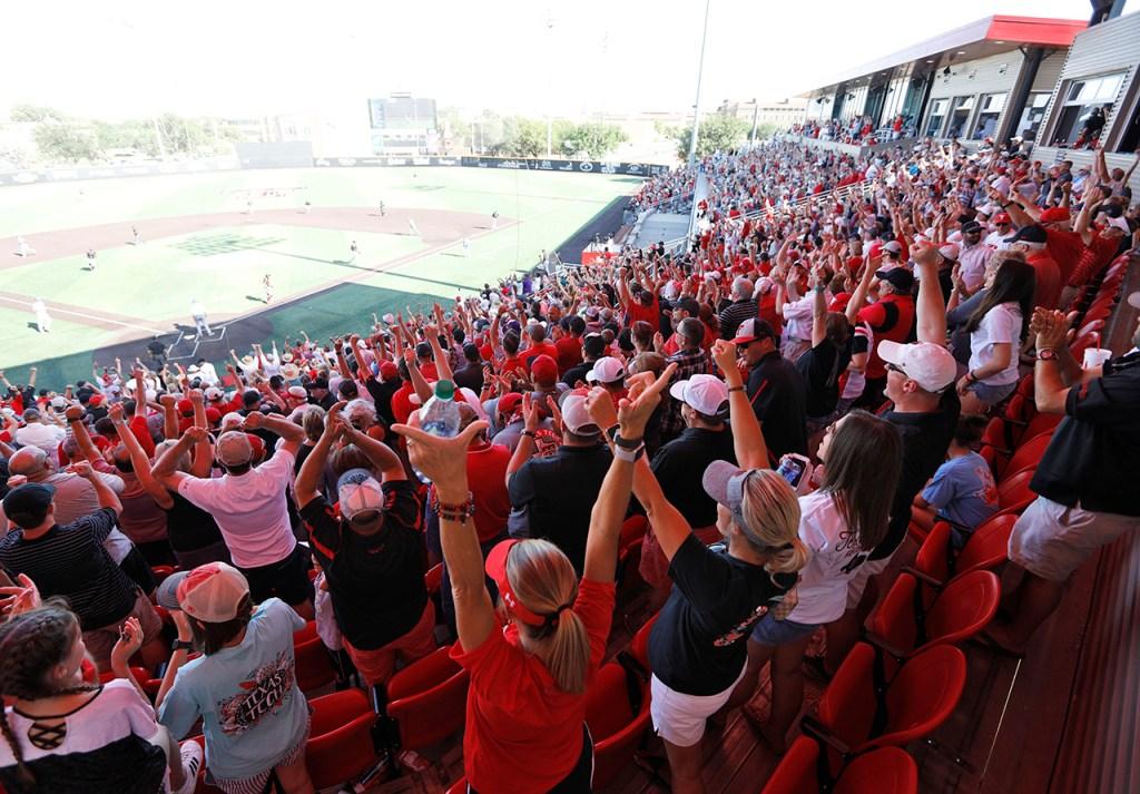 Texas Tech fans cheer during an NCAA college baseball tournament super regional game against Duke, Monday, June 11, 2018, in Lubbock, Texas. [Brad Tollefson/A-J Media]