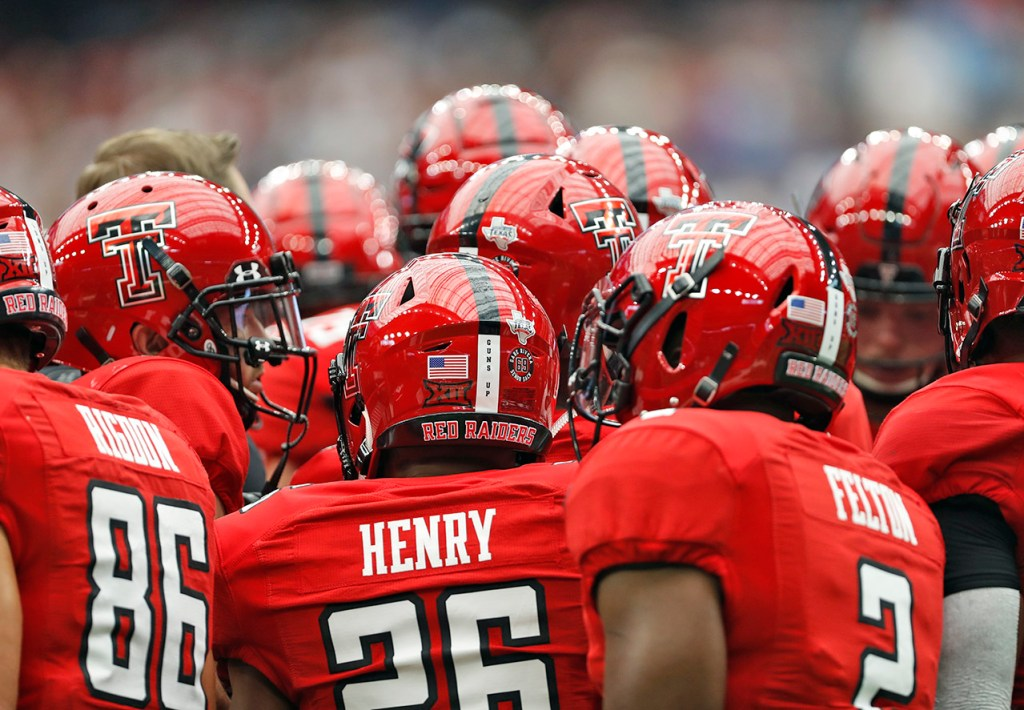 Texas Tech players huddle together during the game against Mississippi, Saturday, Sept. 1, 2018, at NRG Stadium in Houston, Texas. [Brad Tollefson/A-J Media]