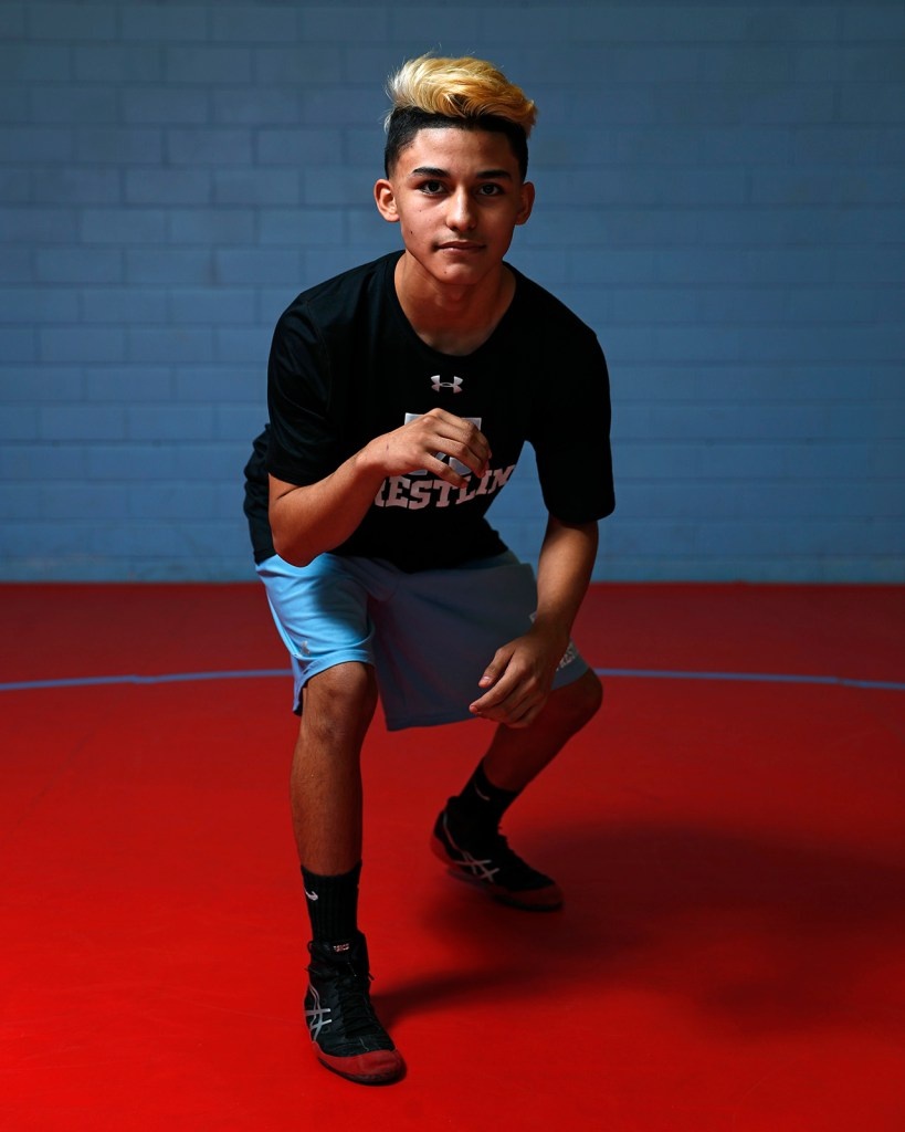 Monterey's Bradyn Valdez will compete in the state wrestling tournament Tuesday, Feb. 19, 2019, at Monterey High in Lubbock, Texas. [Brad Tollefson/A-J Media]