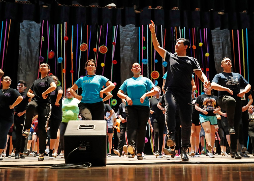 Ramon Ruelas Silva leads a dancing workshop focusing on the style from the Baja California Norte region during the Viva Aztlan festival, Friday, March 8, 2019, at Lubbock Memorial Civic Center in Lubbock, Texas. [Brad Tollefson/A-J Media]