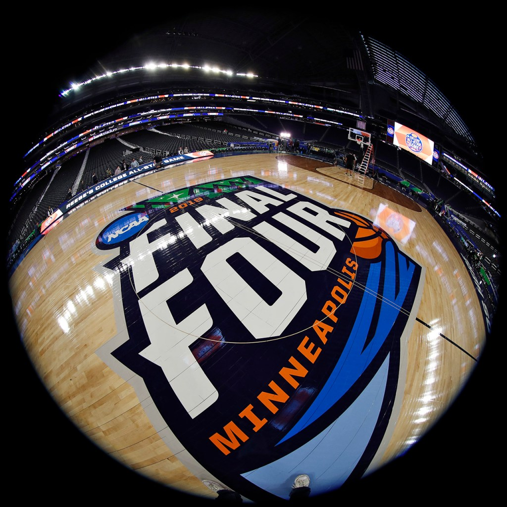 The Final Four logo on the court Friday, April 5, 2019, at U.S. Bank Stadium in Minneapolis, Minn. [Brad Tollefson/A-J Media]