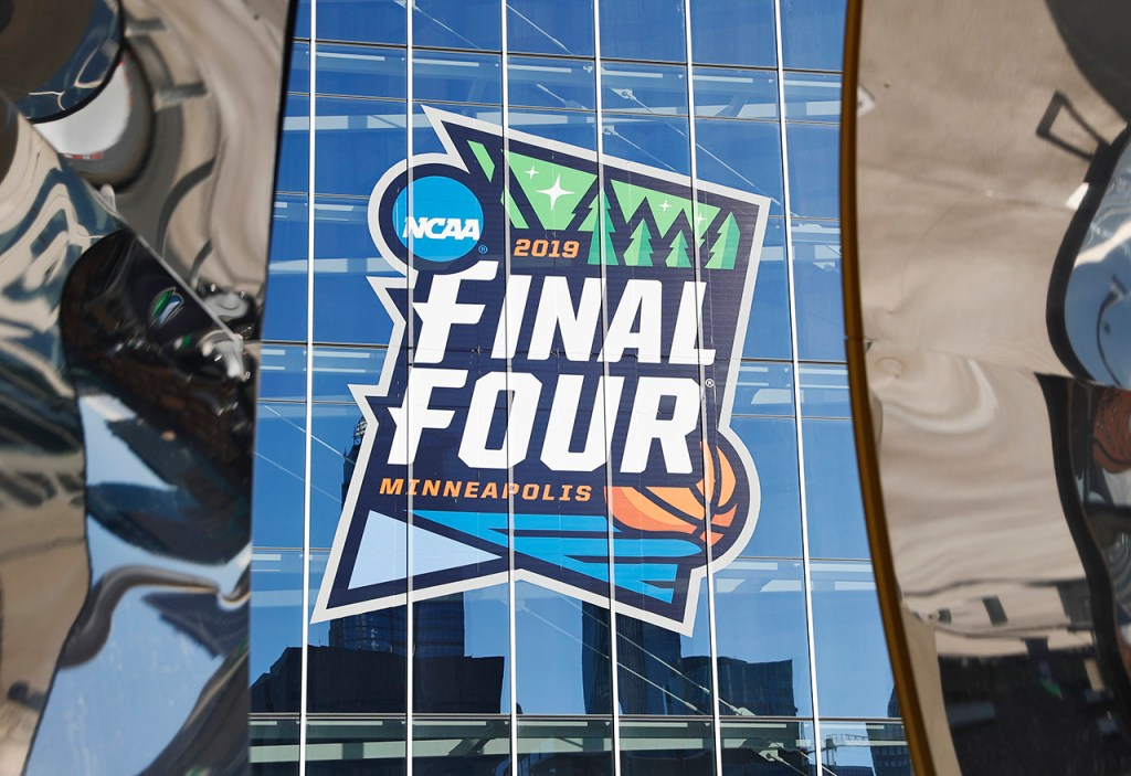 The Final Four logo on the exterior of the stadium before the national championship game between Texas Tech and Virginia, Monday, April 8, 2019, at U.S. Bank Stadium in Minneapolis, Minn. [Brad Tollefson/A-J Media]