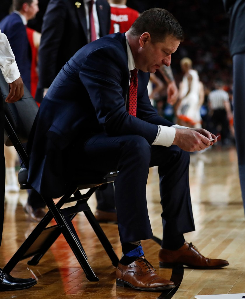 Texas Tech coach Chris Beard sits on the chair after a timeout during the men's basketball national championship against Virginia, Monday, April 8, 2019, at U.S. Bank Stadium in Minneapolis, Minn. [Brad Tollefson/A-J Media]
