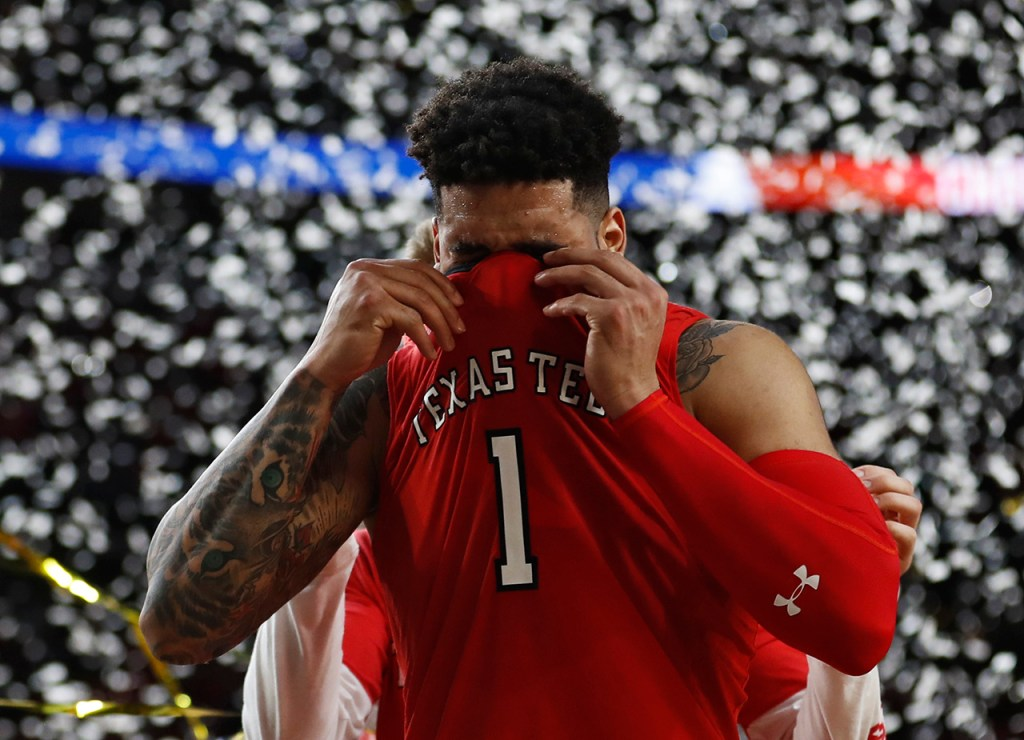 Texas Tech's Brandone Francis (1) yells out after the men's basketball national championship game against Virginia, Monday, April 8, 2019, at U.S. Bank Stadium in Minneapolis, Minn. [Brad Tollefson/A-J Media]
